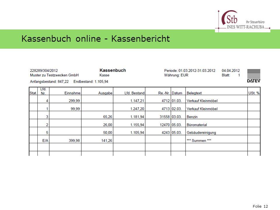 Folie 12 Ihr Logo Kassenbuch online - Kassenbericht