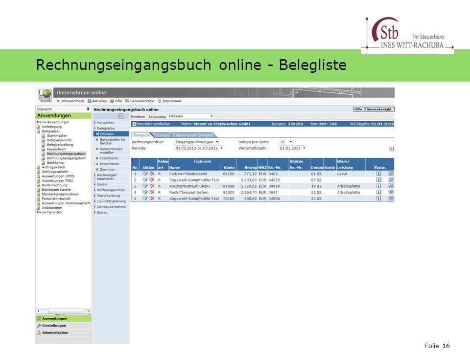 Folie 16 Ihr Logo Rechnungseingangsbuch online - Belegliste