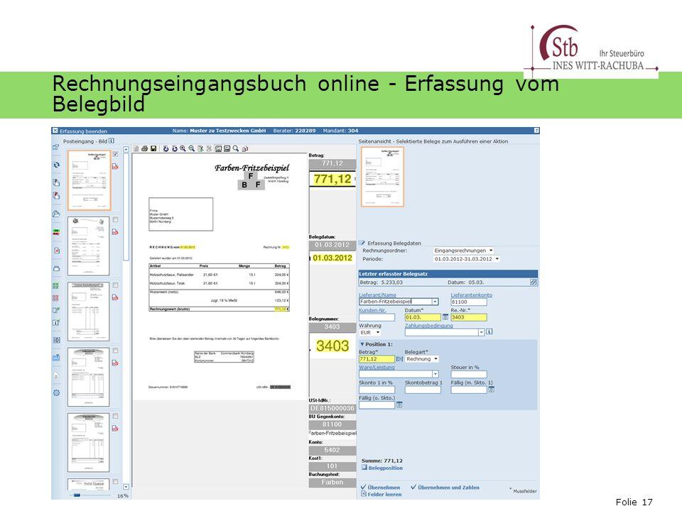 Folie 17 Ihr Logo Rechnungseingangsbuch online - Erfassung vom Belegbild