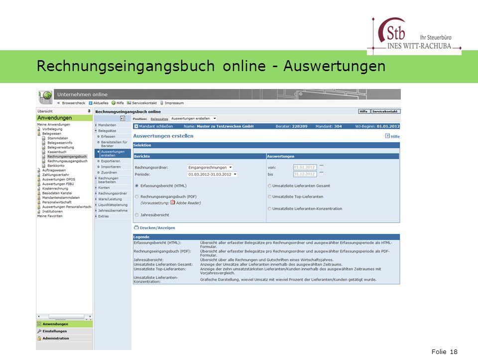 Folie 18 Ihr Logo Rechnungseingangsbuch online - Auswertungen