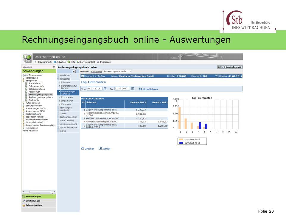 Folie 20 Ihr Logo Rechnungseingangsbuch online - Auswertungen