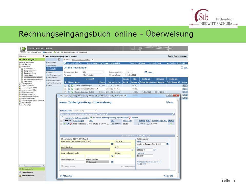 Folie 21 Ihr Logo Rechnungseingangsbuch online - Überweisung