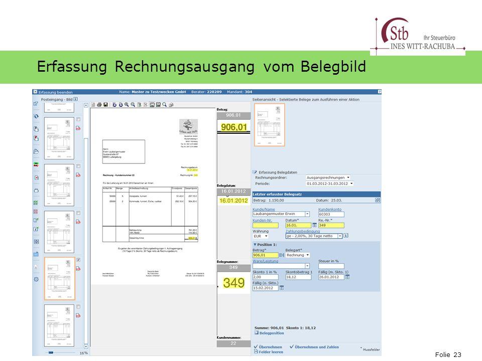 Folie 23 Ihr Logo Erfassung Rechnungsausgang vom Belegbild