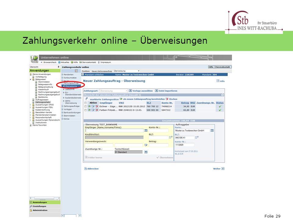 Folie 29 Ihr Logo Zahlungsverkehr online – Überweisungen