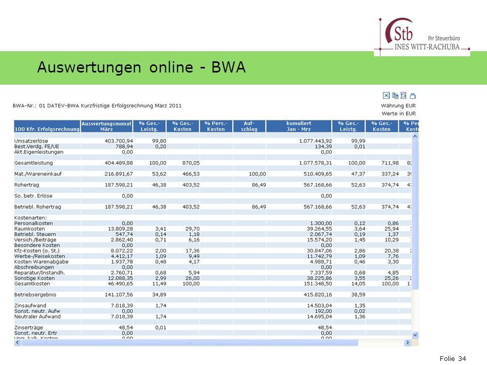 Folie 34 Ihr Logo Auswertungen online - BWA