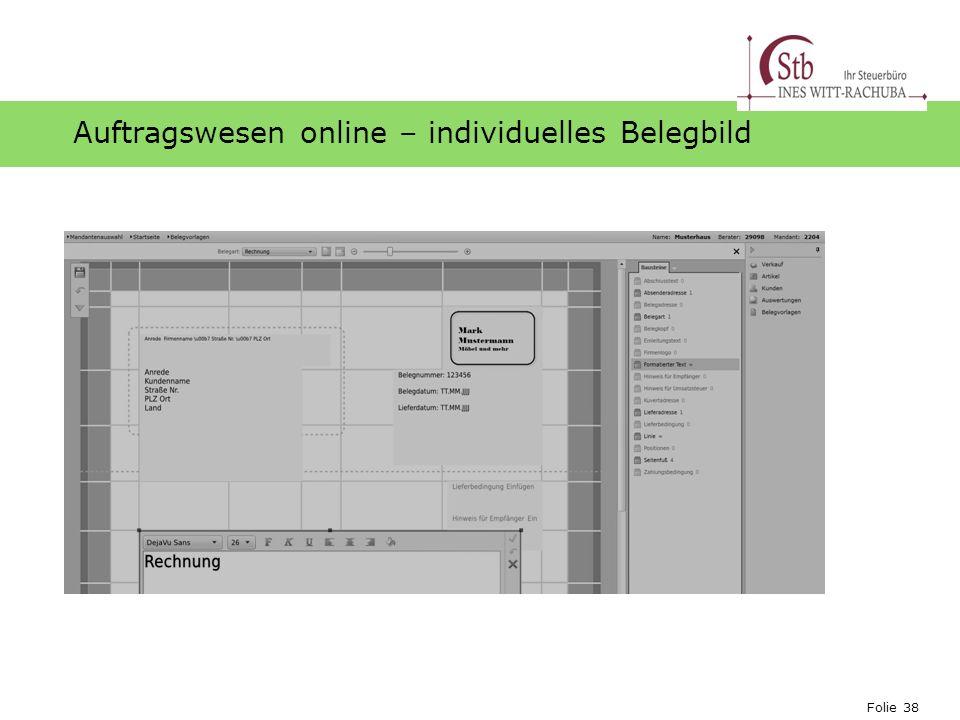 Folie 38 Ihr Logo Auftragswesen online – individuelles Belegbild