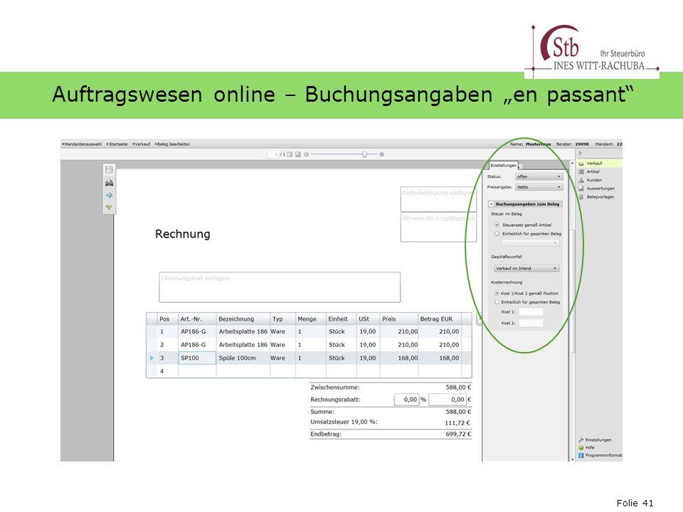 Folie 41 Ihr Logo Auftragswesen online – Buchungsangaben en passant