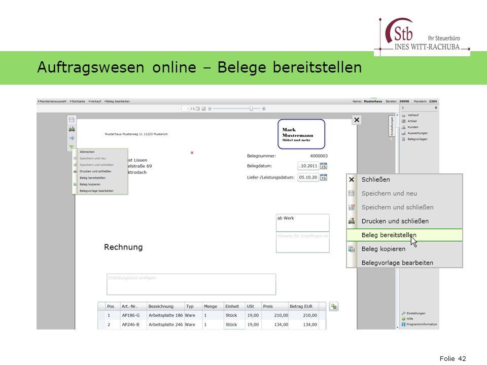 Folie 42 Ihr Logo Auftragswesen online – Belege bereitstellen