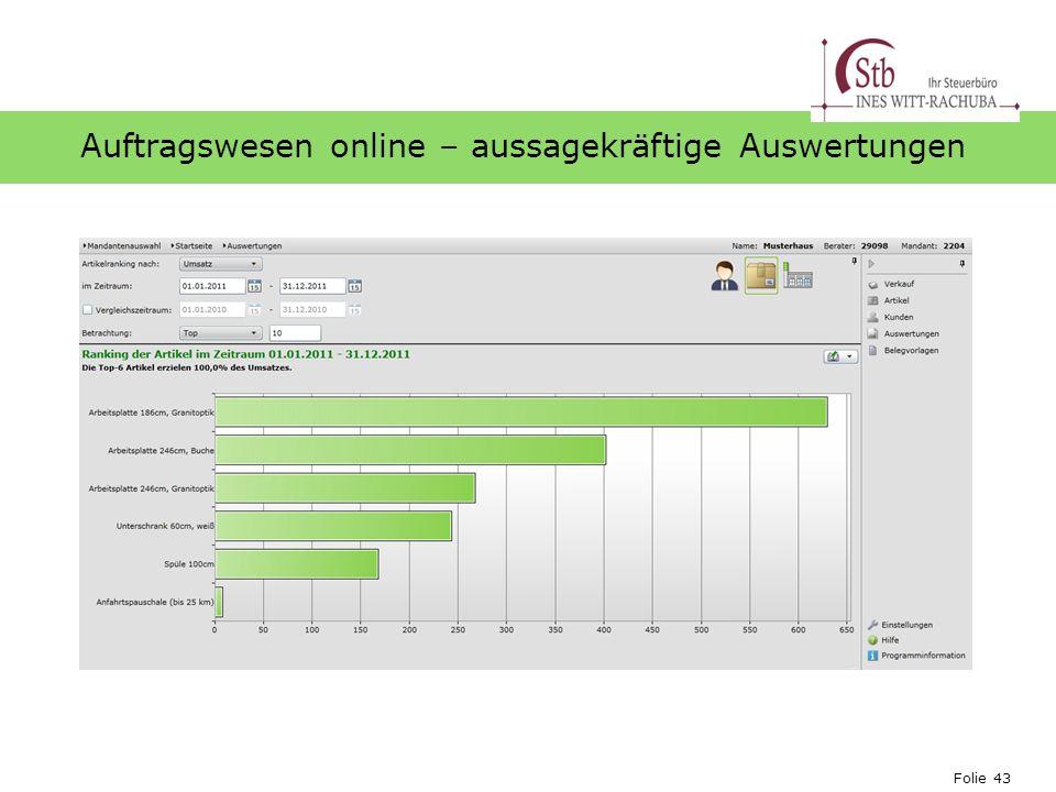 Folie 43 Ihr Logo Auftragswesen online – aussagekräftige Auswertungen