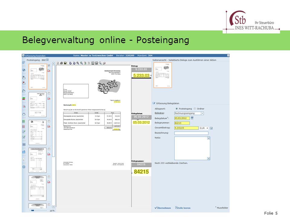 Folie 5 Ihr Logo Belegverwaltung online - Posteingang