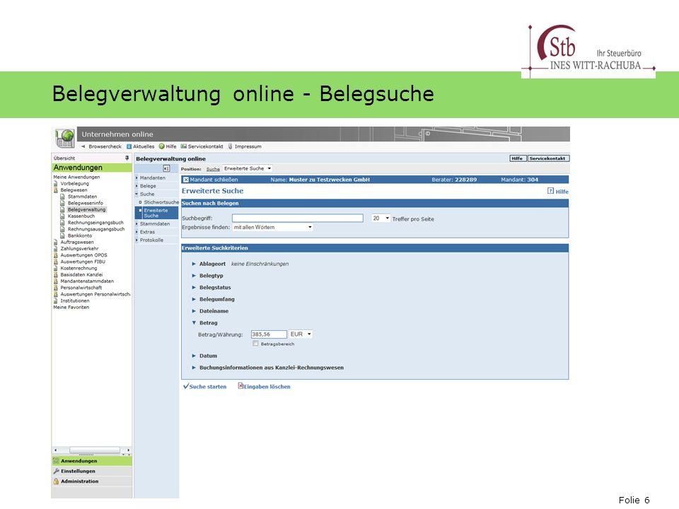 Folie 6 Ihr Logo Belegverwaltung online - Belegsuche