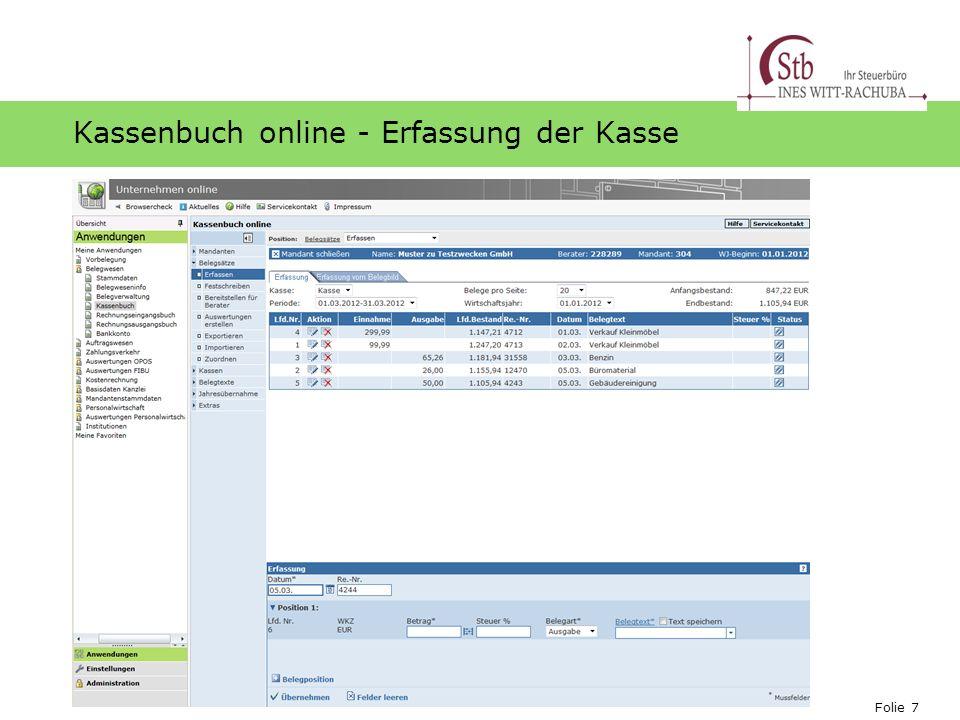 Folie 7 Ihr Logo Kassenbuch online - Erfassung der Kasse