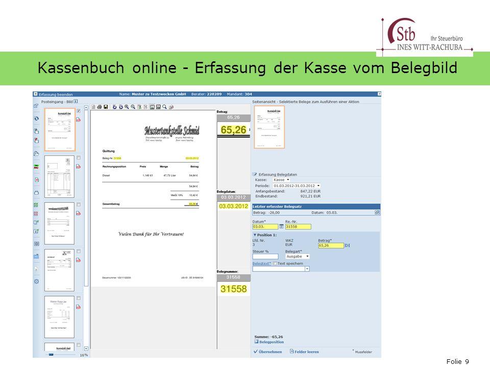 Folie 9 Ihr Logo Kassenbuch online - Erfassung der Kasse vom Belegbild