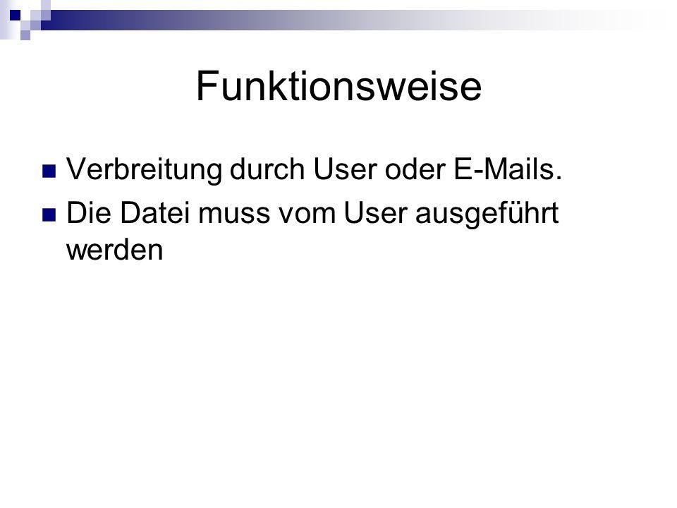 Funktionsweise Verbreitung durch User oder E-Mails. Die Datei muss vom User ausgeführt werden