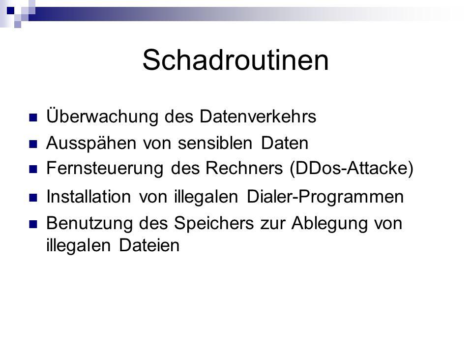 Schadroutinen Überwachung des Datenverkehrs Ausspähen von sensiblen Daten Fernsteuerung des Rechners (DDos-Attacke) Installation von illegalen Dialer-Programmen Benutzung des Speichers zur Ablegung von illegalen Dateien