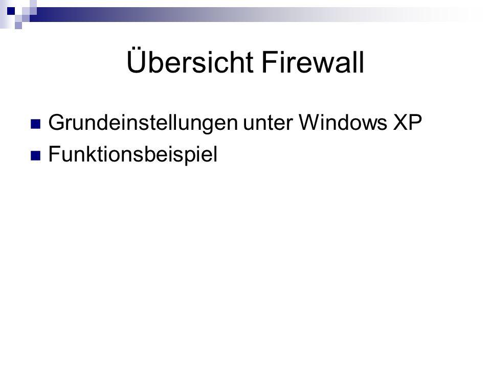 Übersicht Firewall Grundeinstellungen unter Windows XP Funktionsbeispiel