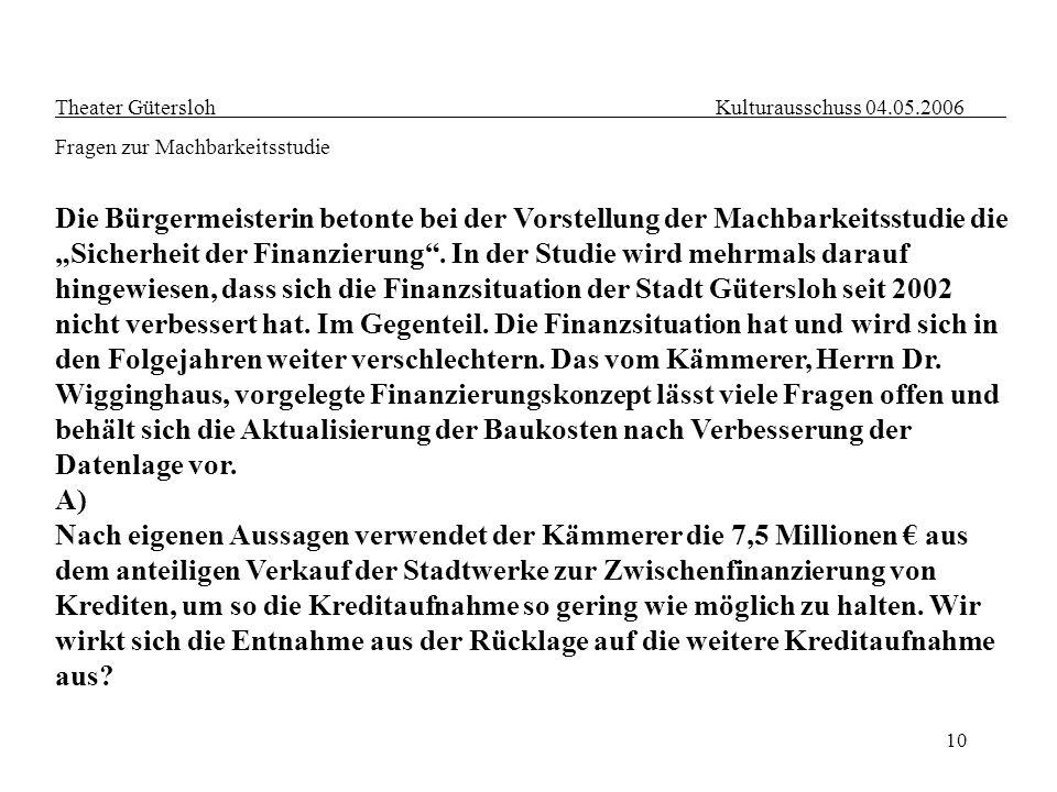 10 Theater Gütersloh Kulturausschuss 04.05.2006 Fragen zur Machbarkeitsstudie Die Bürgermeisterin betonte bei der Vorstellung der Machbarkeitsstudie d