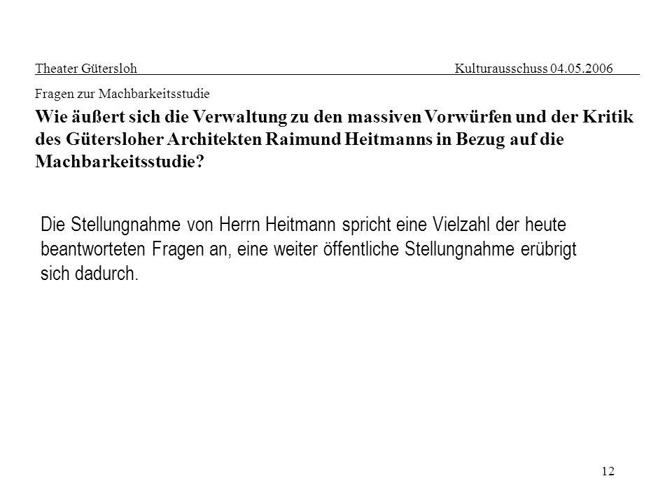 12 Theater Gütersloh Kulturausschuss 04.05.2006 Fragen zur Machbarkeitsstudie Wie äußert sich die Verwaltung zu den massiven Vorwürfen und der Kritik