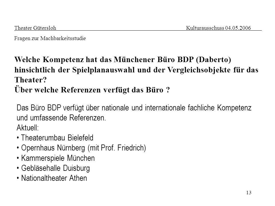 13 Theater Gütersloh Kulturausschuss 04.05.2006 Fragen zur Machbarkeitsstudie Welche Kompetenz hat das Münchener Büro BDP (Daberto) hinsichtlich der S
