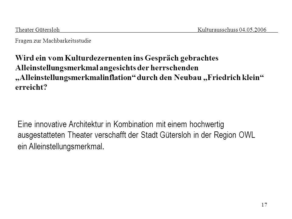 17 Theater Gütersloh Kulturausschuss 04.05.2006 Fragen zur Machbarkeitsstudie Wird ein vom Kulturdezernenten ins Gespräch gebrachtes Alleinstellungsme