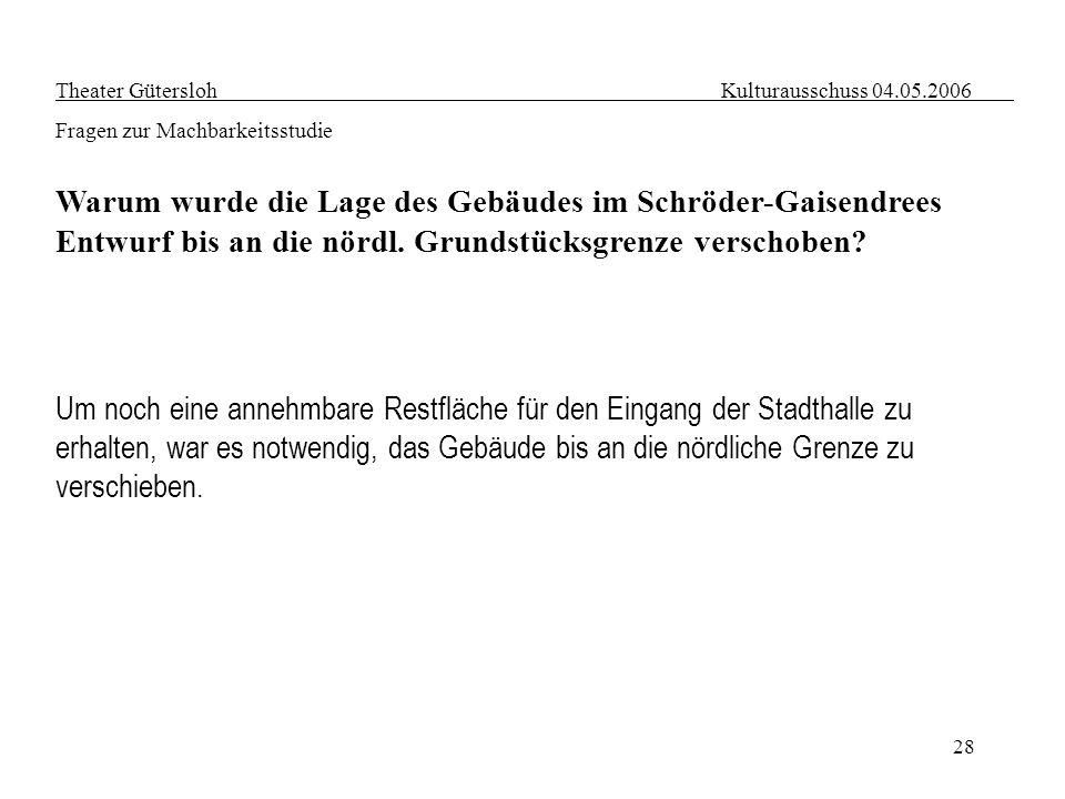 28 Theater Gütersloh Kulturausschuss 04.05.2006 Fragen zur Machbarkeitsstudie Warum wurde die Lage des Gebäudes im Schröder-Gaisendrees Entwurf bis an