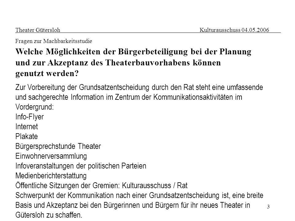 3 Theater Gütersloh Kulturausschuss 04.05.2006 Fragen zur Machbarkeitsstudie Welche Möglichkeiten der Bürgerbeteiligung bei der Planung und zur Akzept