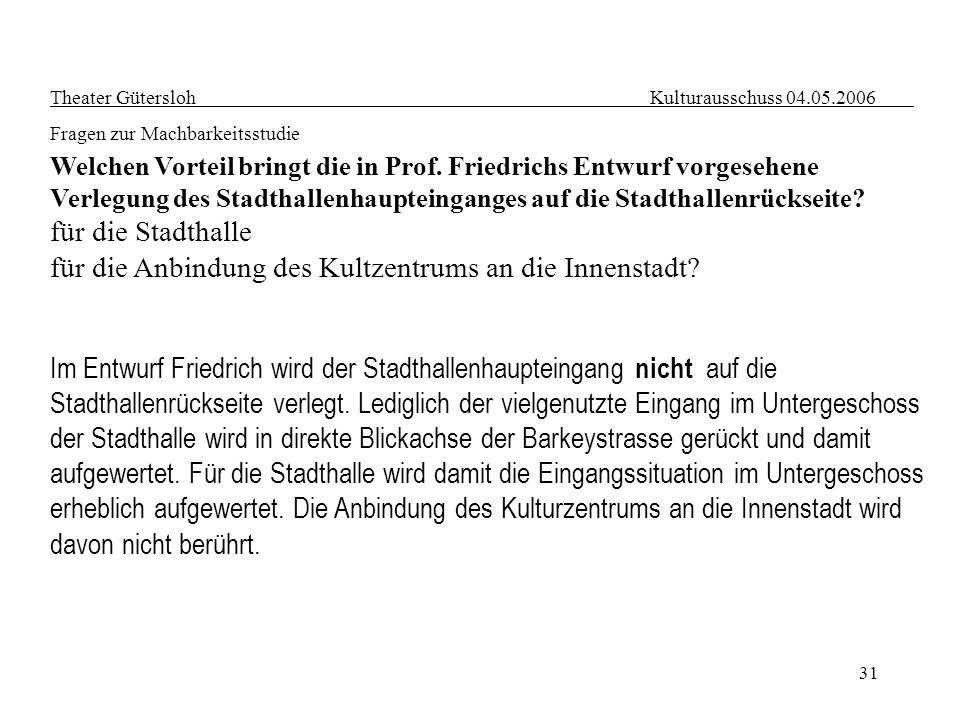 31 Theater Gütersloh Kulturausschuss 04.05.2006 Fragen zur Machbarkeitsstudie Welchen Vorteil bringt die in Prof. Friedrichs Entwurf vorgesehene Verle