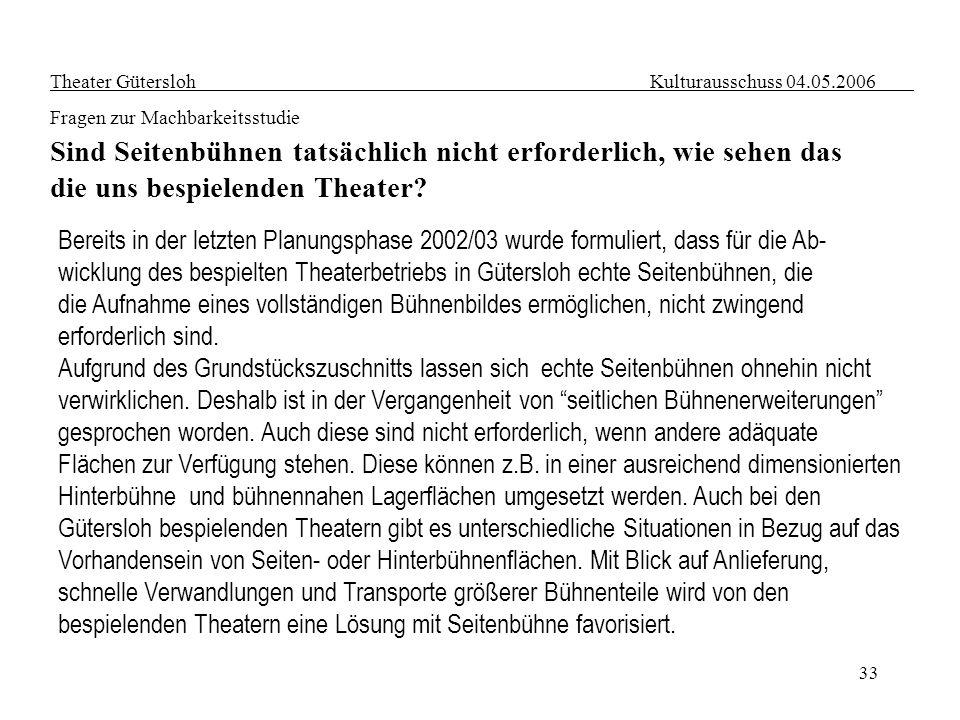 33 Bereits in der letzten Planungsphase 2002/03 wurde formuliert, dass für die Ab- wicklung des bespielten Theaterbetriebs in Gütersloh echte Seitenbü