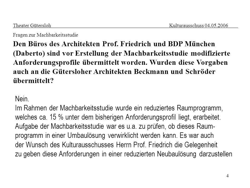 4 Theater Gütersloh Kulturausschuss 04.05.2006 Fragen zur Machbarkeitsstudie Den Büros des Architekten Prof. Friedrich und BDP München (Daberto) sind