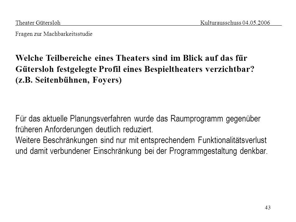 43 Theater Gütersloh Kulturausschuss 04.05.2006 Fragen zur Machbarkeitsstudie Welche Teilbereiche eines Theaters sind im Blick auf das für Gütersloh f