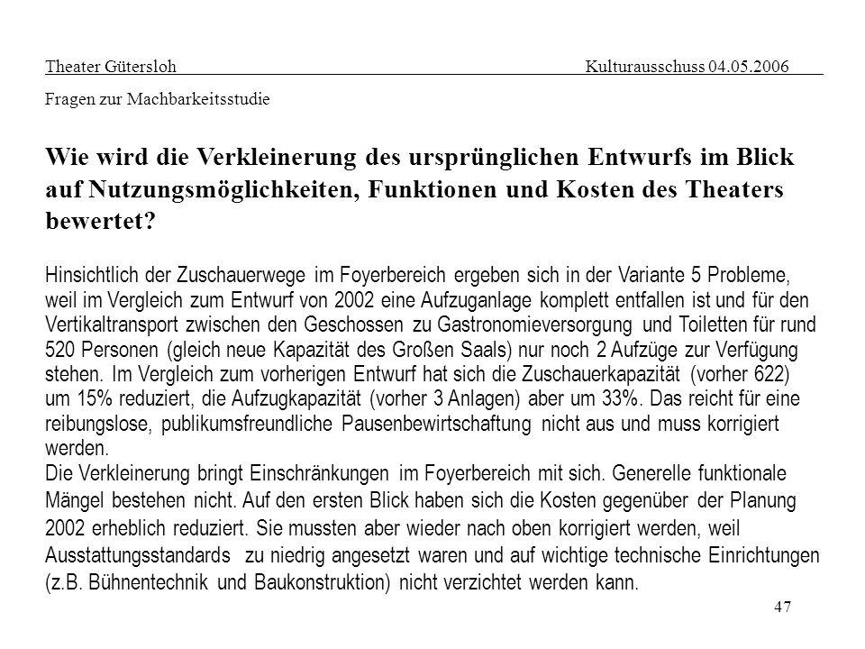 47 Theater Gütersloh Kulturausschuss 04.05.2006 Fragen zur Machbarkeitsstudie Wie wird die Verkleinerung des ursprünglichen Entwurfs im Blick auf Nutz