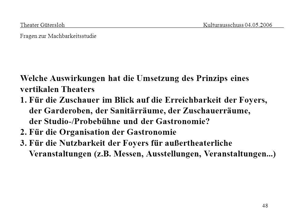 48 Theater Gütersloh Kulturausschuss 04.05.2006 Fragen zur Machbarkeitsstudie Welche Auswirkungen hat die Umsetzung des Prinzips eines vertikalen Thea