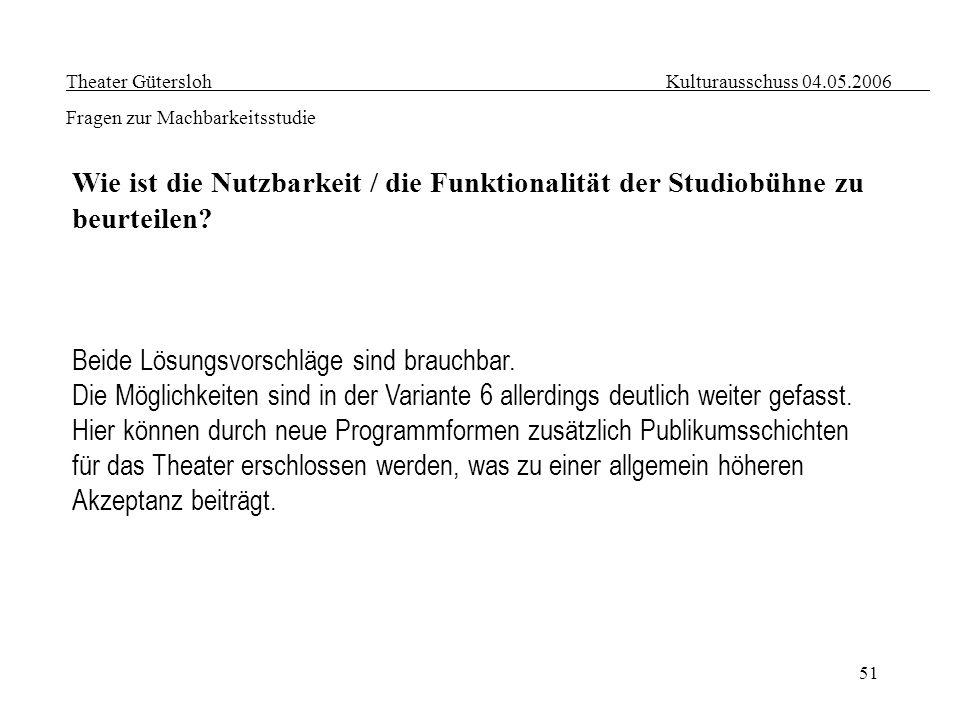 51 Theater Gütersloh Kulturausschuss 04.05.2006 Fragen zur Machbarkeitsstudie Wie ist die Nutzbarkeit / die Funktionalität der Studiobühne zu beurteil