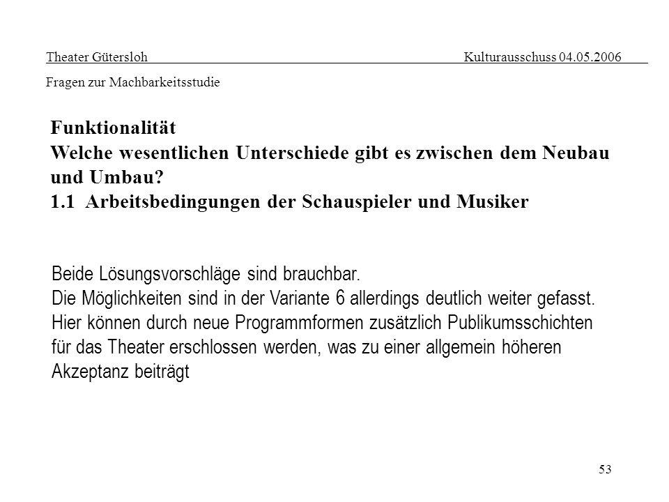53 Theater Gütersloh Kulturausschuss 04.05.2006 Fragen zur Machbarkeitsstudie Funktionalität Welche wesentlichen Unterschiede gibt es zwischen dem Neu