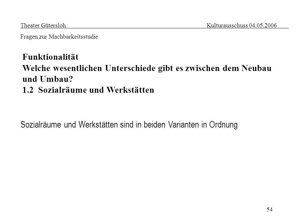 54 Theater Gütersloh Kulturausschuss 04.05.2006 Fragen zur Machbarkeitsstudie Funktionalität Welche wesentlichen Unterschiede gibt es zwischen dem Neu