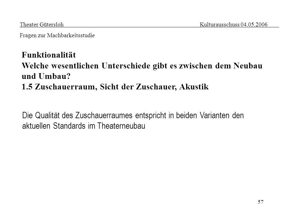 57 Theater Gütersloh Kulturausschuss 04.05.2006 Fragen zur Machbarkeitsstudie Funktionalität Welche wesentlichen Unterschiede gibt es zwischen dem Neu