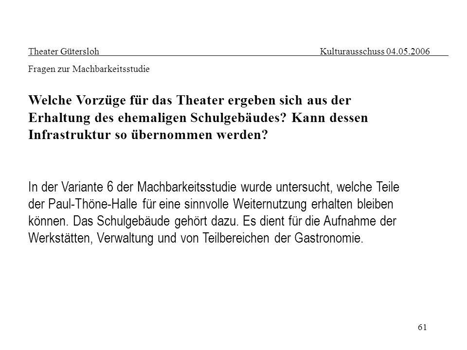 61 Theater Gütersloh Kulturausschuss 04.05.2006 Fragen zur Machbarkeitsstudie Welche Vorzüge für das Theater ergeben sich aus der Erhaltung des ehemal