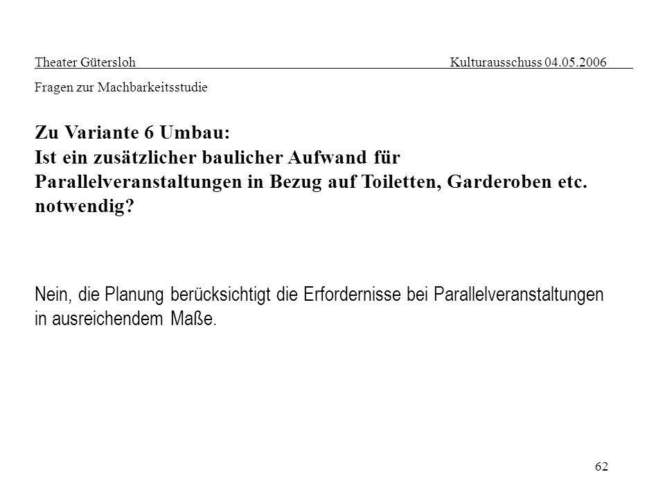 62 Theater Gütersloh Kulturausschuss 04.05.2006 Fragen zur Machbarkeitsstudie Zu Variante 6 Umbau: Ist ein zusätzlicher baulicher Aufwand für Parallel