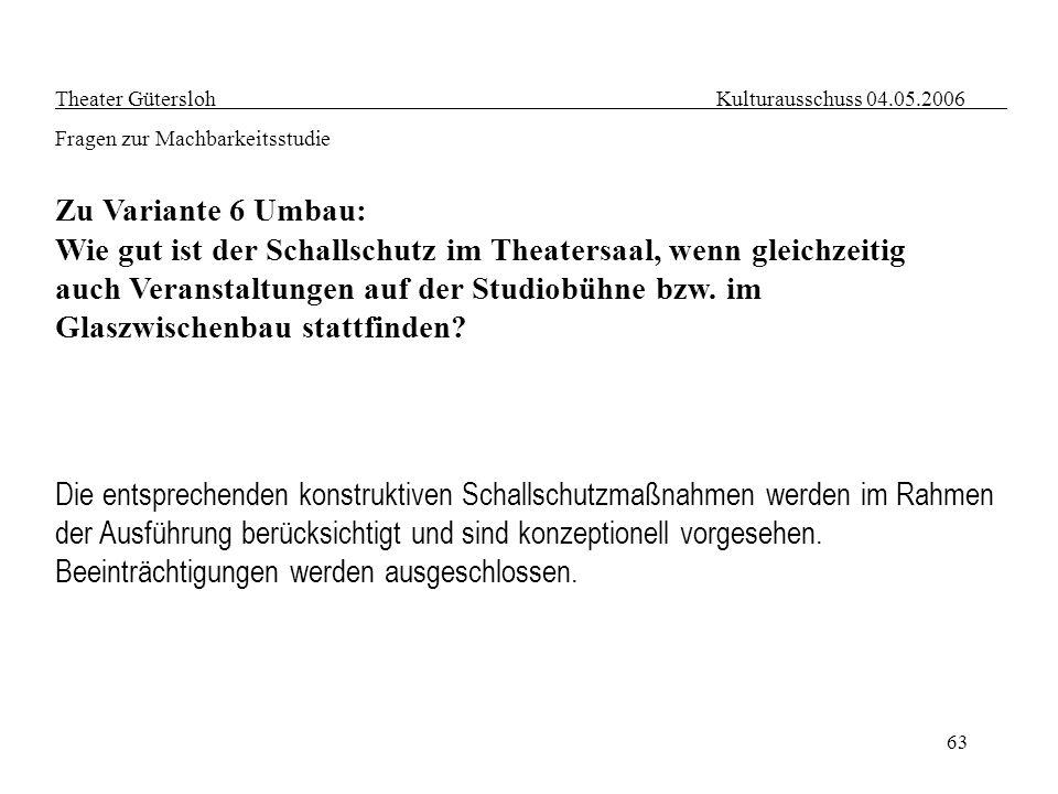 63 Theater Gütersloh Kulturausschuss 04.05.2006 Fragen zur Machbarkeitsstudie Zu Variante 6 Umbau: Wie gut ist der Schallschutz im Theatersaal, wenn g
