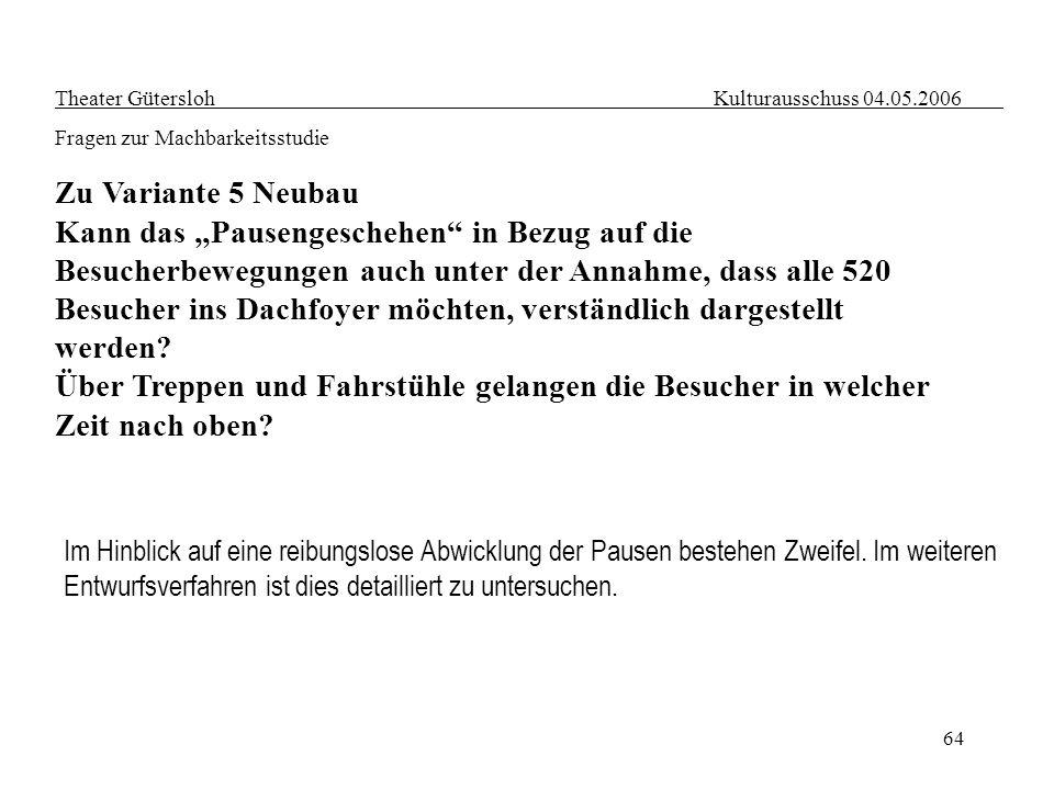64 Theater Gütersloh Kulturausschuss 04.05.2006 Fragen zur Machbarkeitsstudie Zu Variante 5 Neubau Kann das Pausengeschehen in Bezug auf die Besucherb