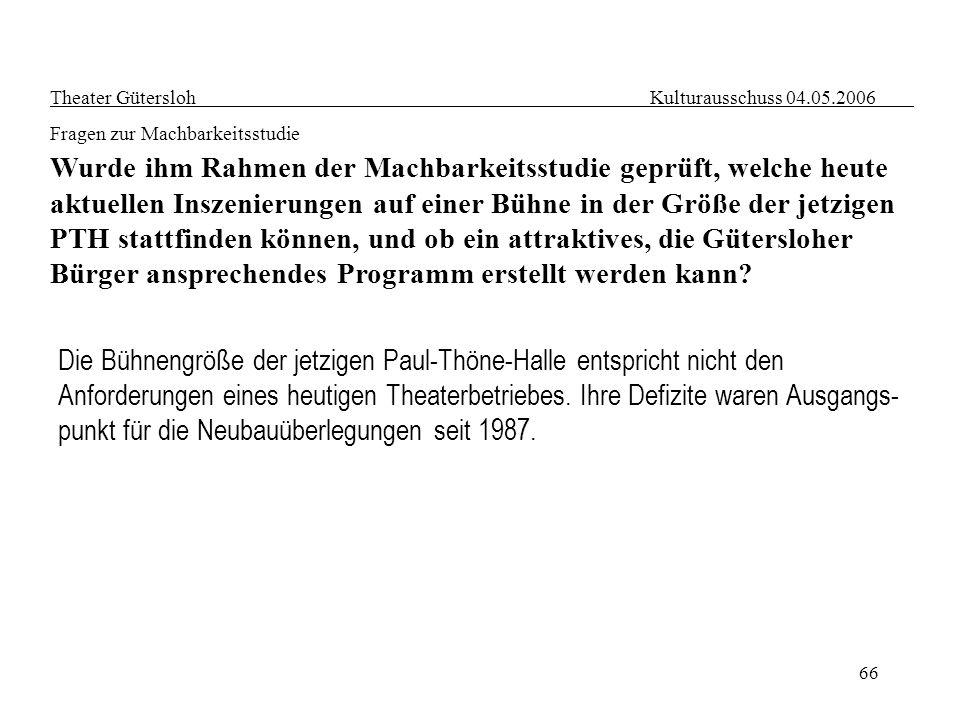 66 Theater Gütersloh Kulturausschuss 04.05.2006 Fragen zur Machbarkeitsstudie Wurde ihm Rahmen der Machbarkeitsstudie geprüft, welche heute aktuellen