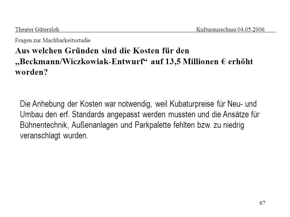 67 Theater Gütersloh Kulturausschuss 04.05.2006 Fragen zur Machbarkeitsstudie Aus welchen Gründen sind die Kosten für den Beckmann/Wiczkowiak-Entwurf