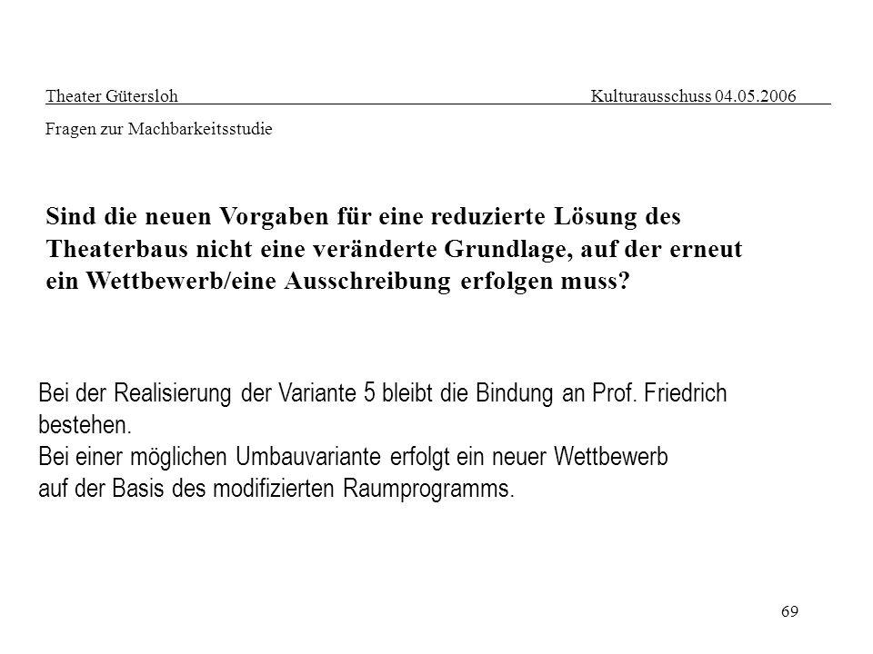 69 Theater Gütersloh Kulturausschuss 04.05.2006 Fragen zur Machbarkeitsstudie Sind die neuen Vorgaben für eine reduzierte Lösung des Theaterbaus nicht