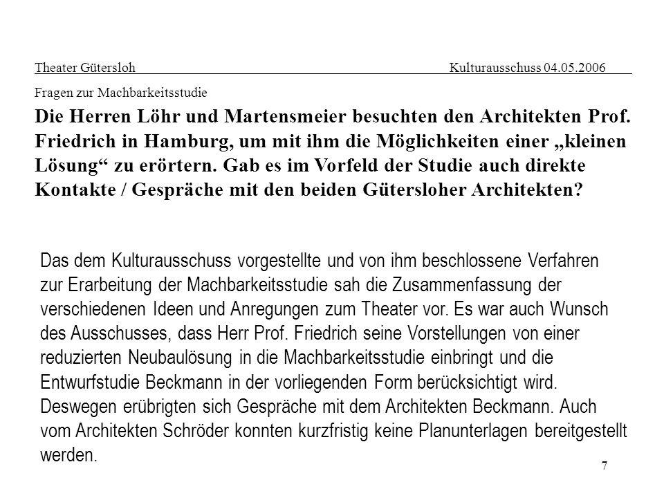 7 Theater Gütersloh Kulturausschuss 04.05.2006 Fragen zur Machbarkeitsstudie Die Herren Löhr und Martensmeier besuchten den Architekten Prof. Friedric