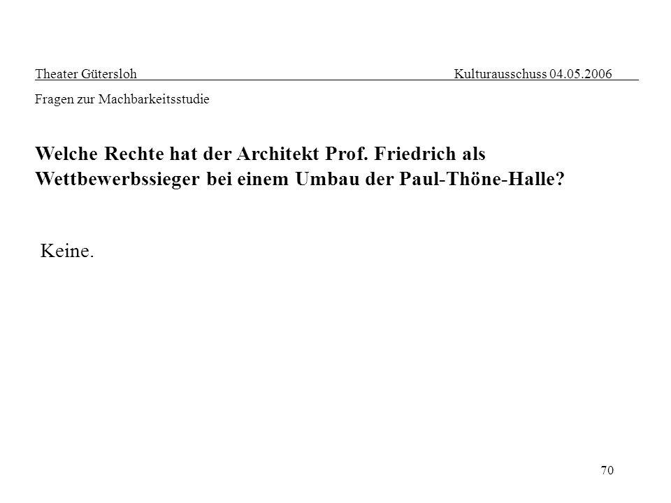 70 Theater Gütersloh Kulturausschuss 04.05.2006 Fragen zur Machbarkeitsstudie Welche Rechte hat der Architekt Prof. Friedrich als Wettbewerbssieger be