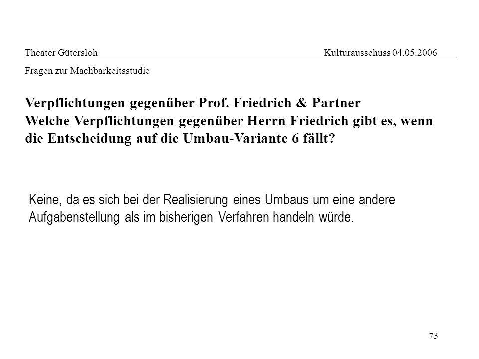 73 Theater Gütersloh Kulturausschuss 04.05.2006 Fragen zur Machbarkeitsstudie Verpflichtungen gegenüber Prof. Friedrich & Partner Welche Verpflichtung