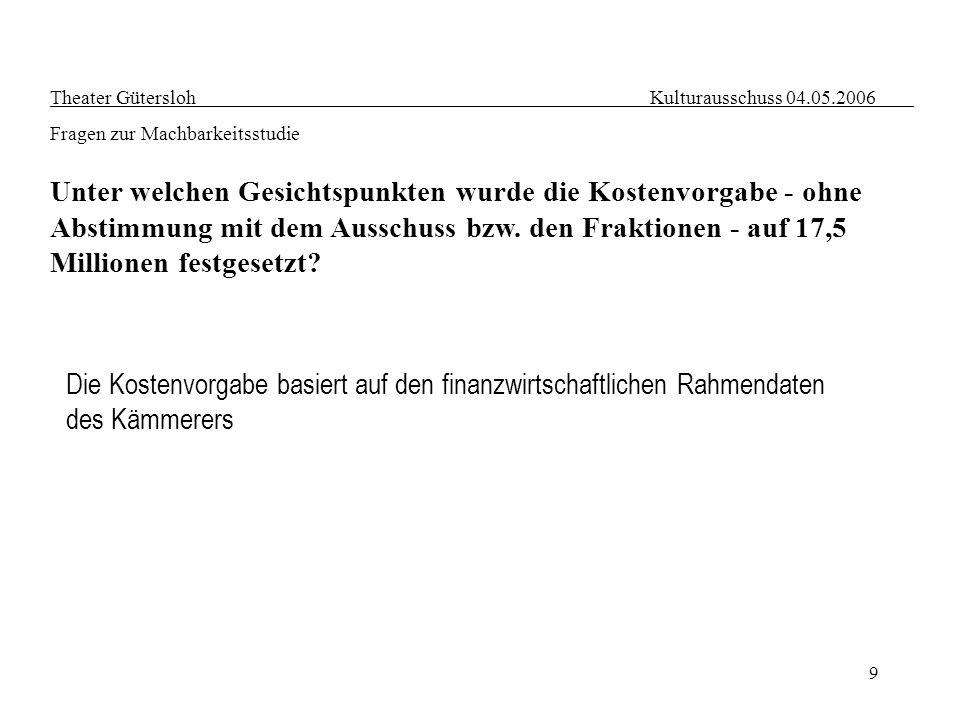 9 Theater Gütersloh Kulturausschuss 04.05.2006 Fragen zur Machbarkeitsstudie Unter welchen Gesichtspunkten wurde die Kostenvorgabe - ohne Abstimmung m
