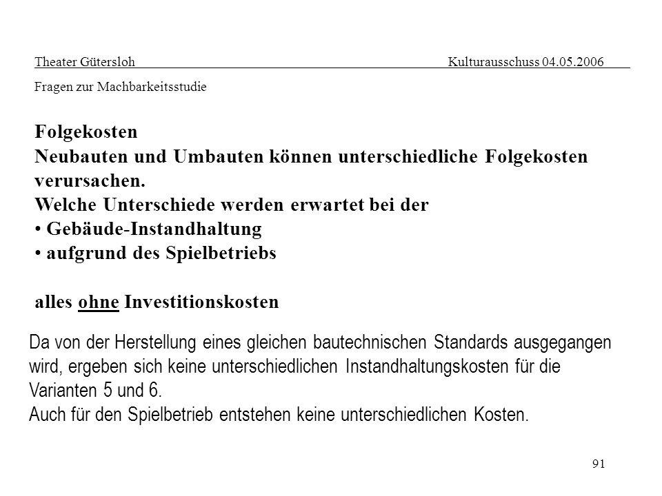 91 Theater Gütersloh Kulturausschuss 04.05.2006 Fragen zur Machbarkeitsstudie Folgekosten Neubauten und Umbauten können unterschiedliche Folgekosten v