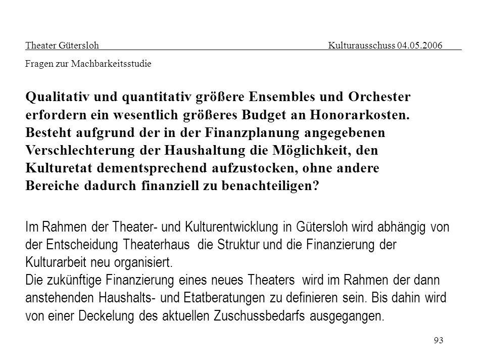 93 Theater Gütersloh Kulturausschuss 04.05.2006 Fragen zur Machbarkeitsstudie Qualitativ und quantitativ größere Ensembles und Orchester erfordern ein