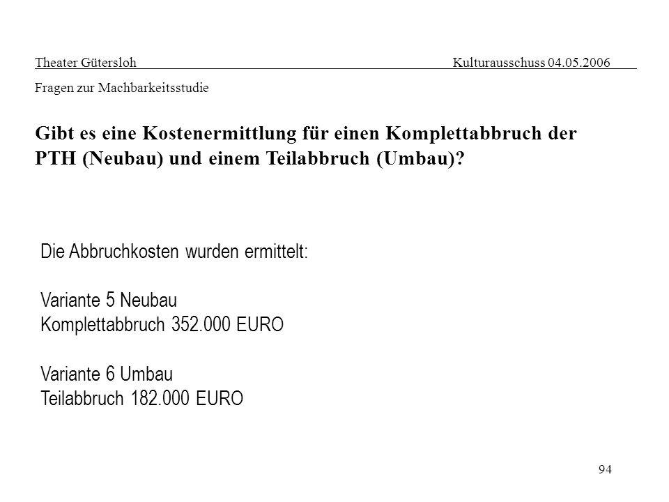 94 Theater Gütersloh Kulturausschuss 04.05.2006 Fragen zur Machbarkeitsstudie Gibt es eine Kostenermittlung für einen Komplettabbruch der PTH (Neubau)